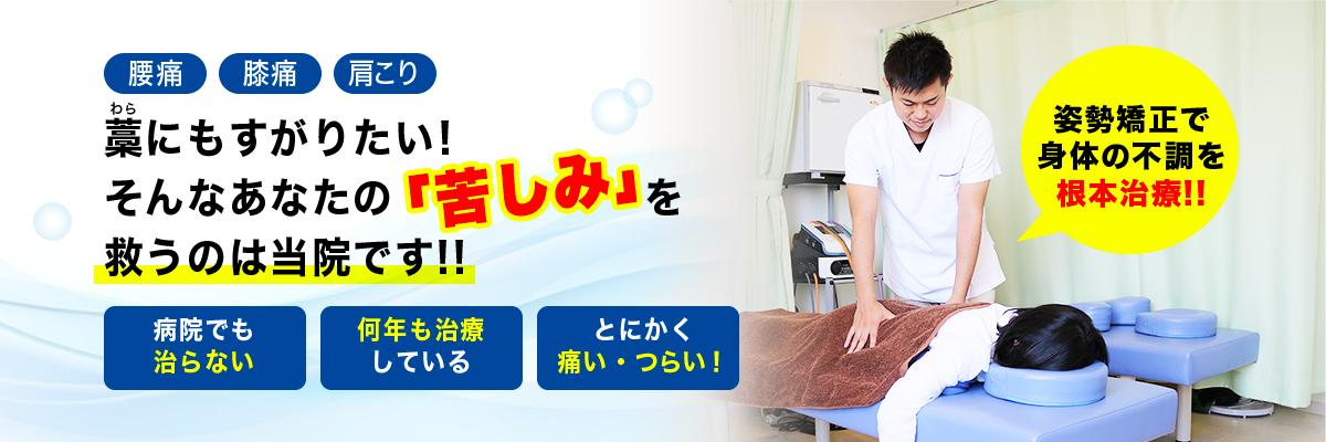 腰痛 膝痛 肩こり 藁にもすがりたい! そんなあなたの苦しみを 救うのは当院です!!